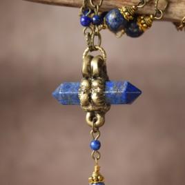 Collier sculpté lapis lazuli «Hyperion d'Egypte»