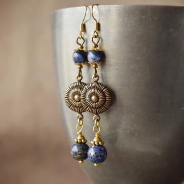 Boucles d'oreilles «Soirs d'été» sodalite et lapis lazuli