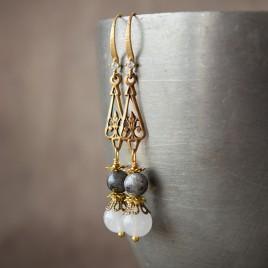 Boucles d'oreilles «Apollonia» larvikite et quartz blanc