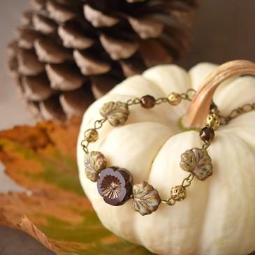 Compagnons d'automnes – bracelet «Pensée d'automne» – verre tchèque