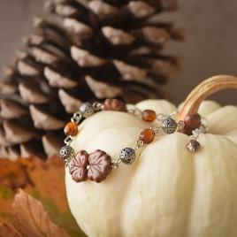 Compagnons d'automnes – bracelet «Érable rouge» argenté – verre tchèque