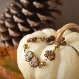 Compagnons d'automnes – bracelet «Érable vert» – verre tchèque